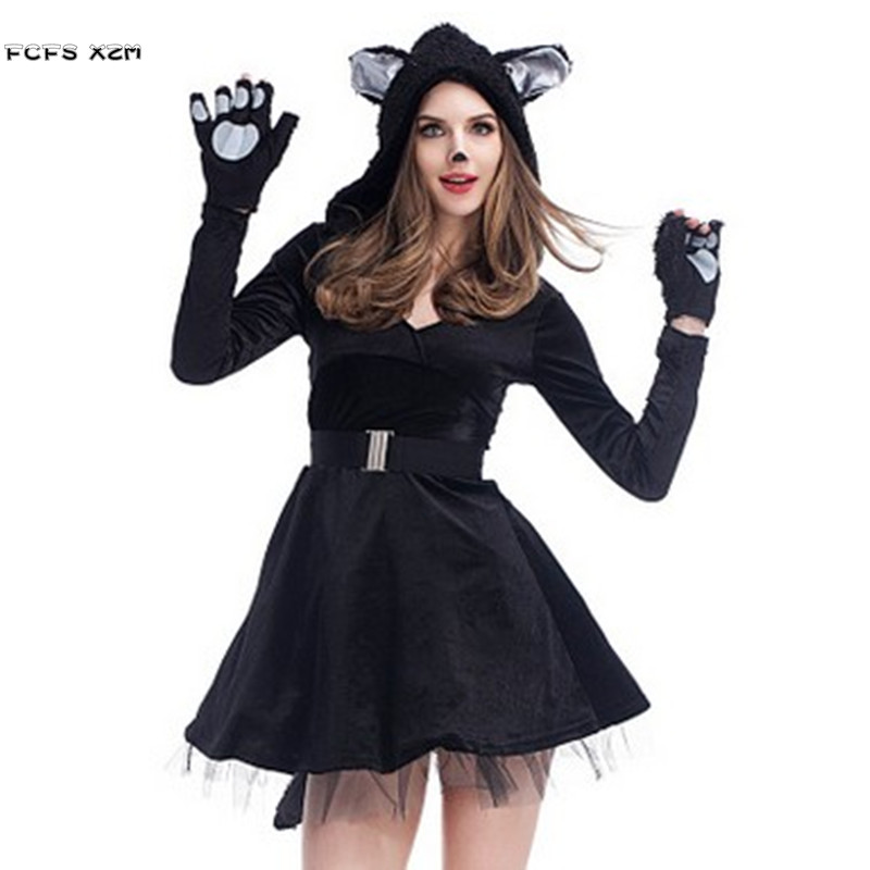 New Black cat Role play dress Halloween Costumes For Woman Female Panda Animal Cosplays Carnival Christmas Masquerade party suit