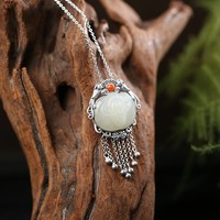 S925 Silver Retro inlaid natural stone Magpie long tassels Woman Sweater fashion Chain Pendant