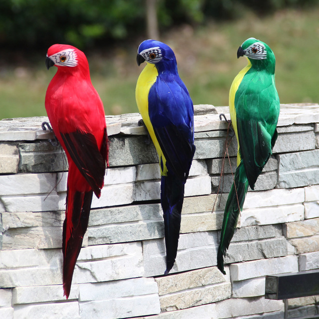 AHUYML 35CM Simulation Parrot Macaw Window Gardening Decorative Bird Foam Feather Big Parrot Home Decoration Garden Bird