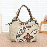 Designer jute hand made cute bag for women cotton zipper for travel shopping Totes Linen Single handle handbag