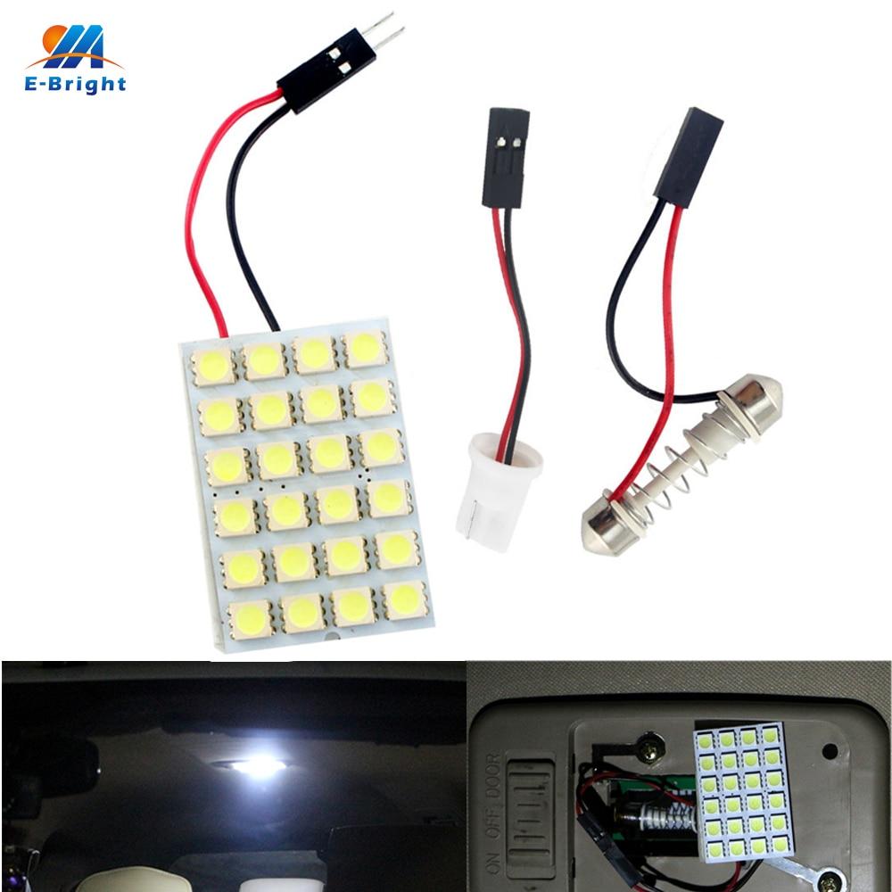 YM E Bright 100pcs Panel Lights 5050 24 SMD LED Car Lights Festoon Dome Bulb Automobile