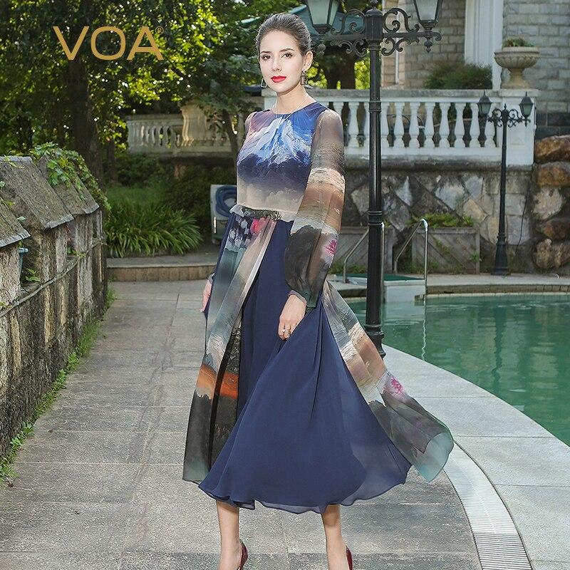 Haute Classique Bleu La Peinture Douille Alx11301 De Plus Style Taille L'encre À Femmes Robes Souffle D'été Impression Voa Longues Robe Chinois Soie zvq1X