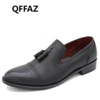 QFFAZ החדש לופרס גברים למעלה מותג גברים נעלי אוקספורד שטוחה מוקסינים נעלי חתונה נעלי גברים עור מקרית P146 zapatos hombre
