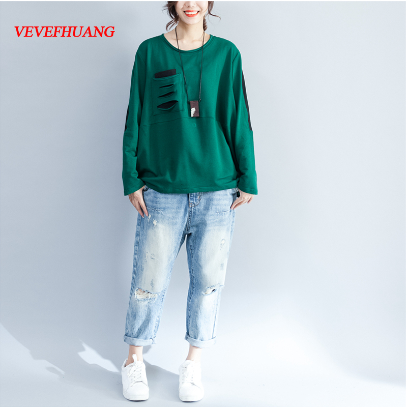 New Arrived Autumn Women T Shirt Long Sleeve Fashion Holes T-Shirt Women Plus Size Clothing