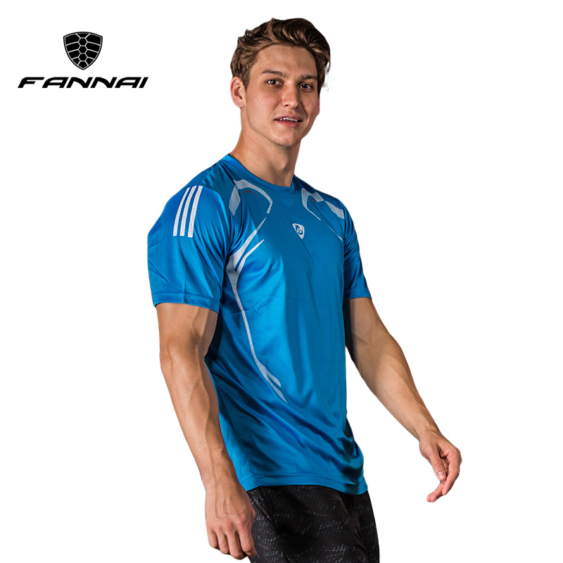 FANNAI Men T Shirt Sport Quick Dry Shirts Fitness Crossfit Running Men shirt Short sleeve Sports Soccer Gym Shirt Tops Tees round neck quick dry solid color short sleeve men s t shirt