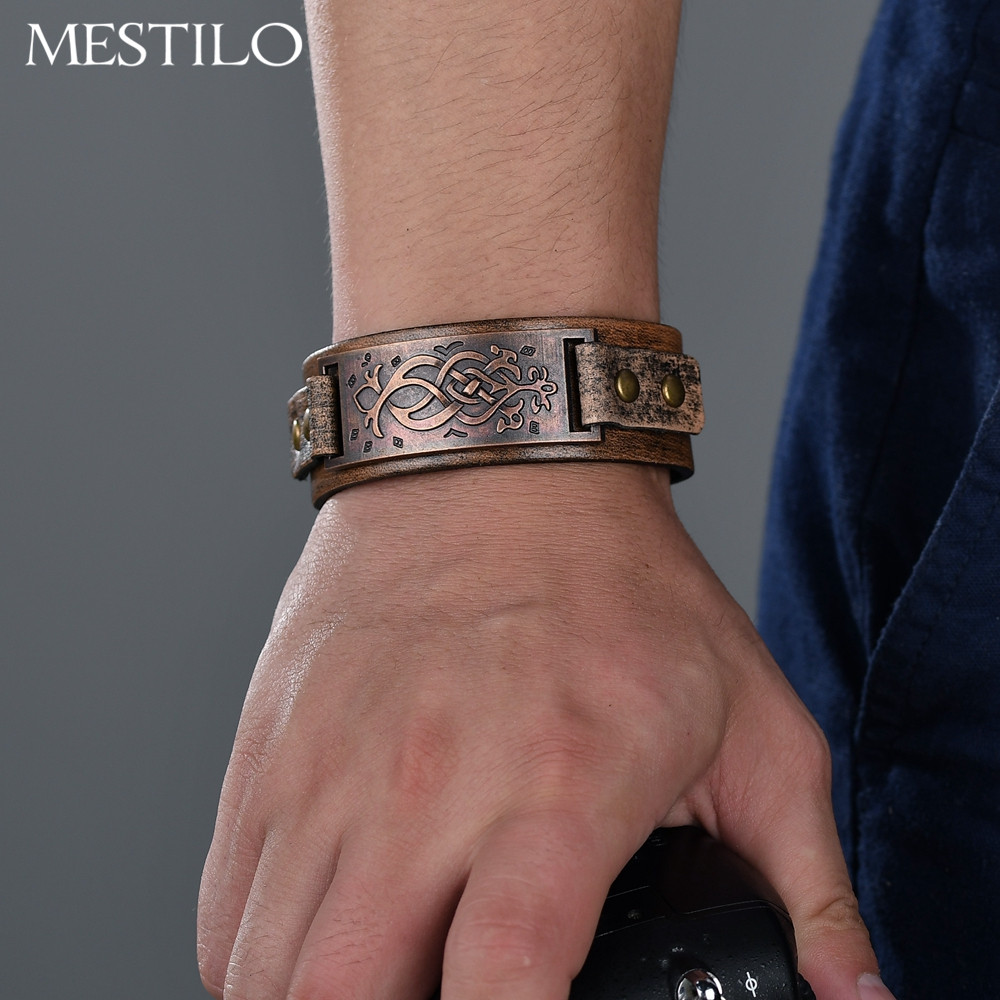 MESTILO Gothic Vintage Antique Bronze Carved Flower Pattern Wristband Bangles Punk Ethnic Men Cool Brown Leather Wide Bracelets
