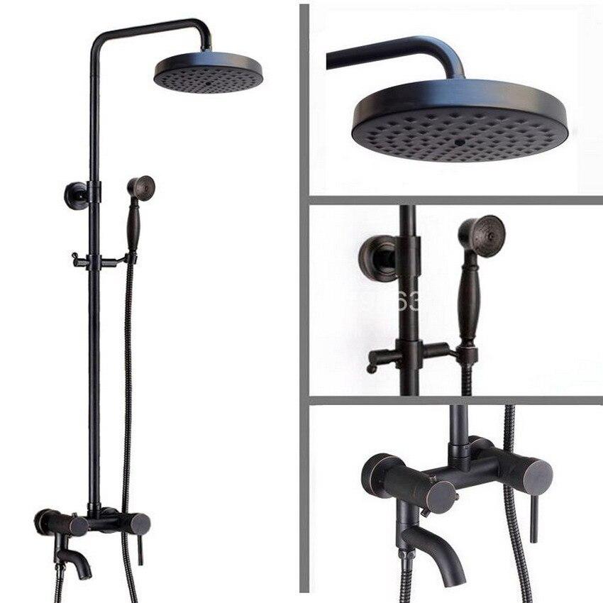 Brass Black Oil Rubbed Bronze Bathroom Rainfall Bathtub Shower Mixer Tap Faucet Single Handle Wall Mounted ars367