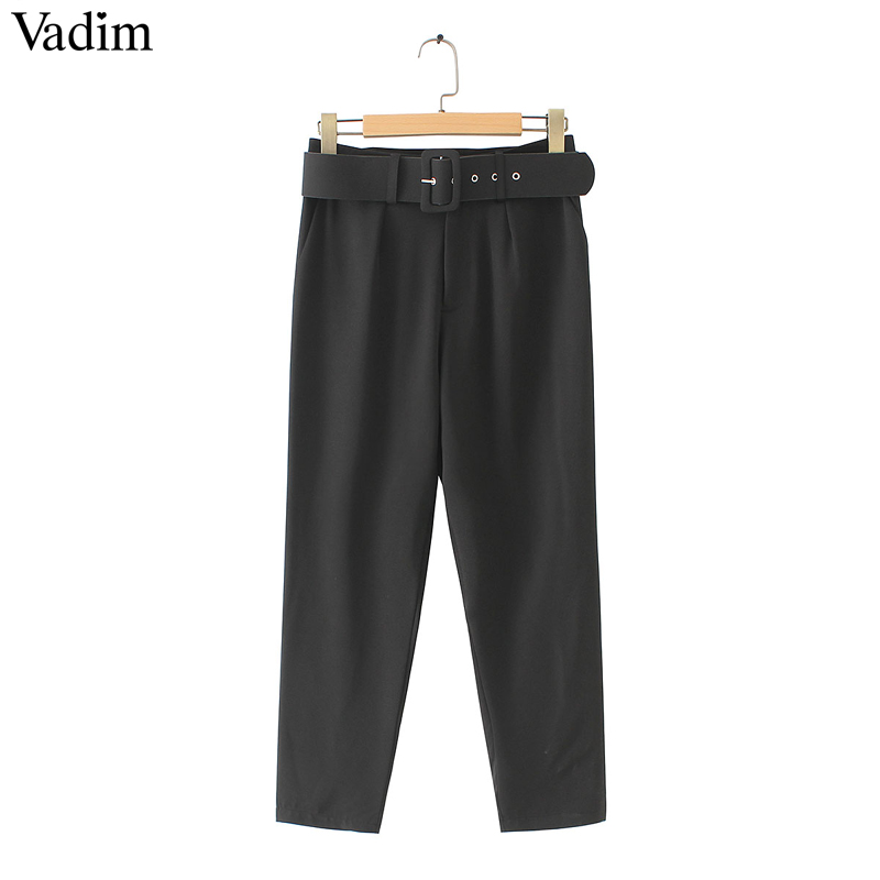Vadim women elegant black pants sashes pockets zipper fly solid ladies streetwear casual chic trousers pantalones KA152(China)