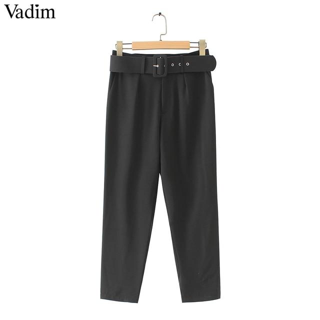 Vadim vrouwen elegante zwarte broek sjerpen pockets zipper fly solid dames streetwear casual chic broek pantalones KA152