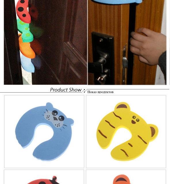5PCS/ Cartoon Child Security Door Card File Environmental Protection Materials Baby door anti – Folder Hand Security door card