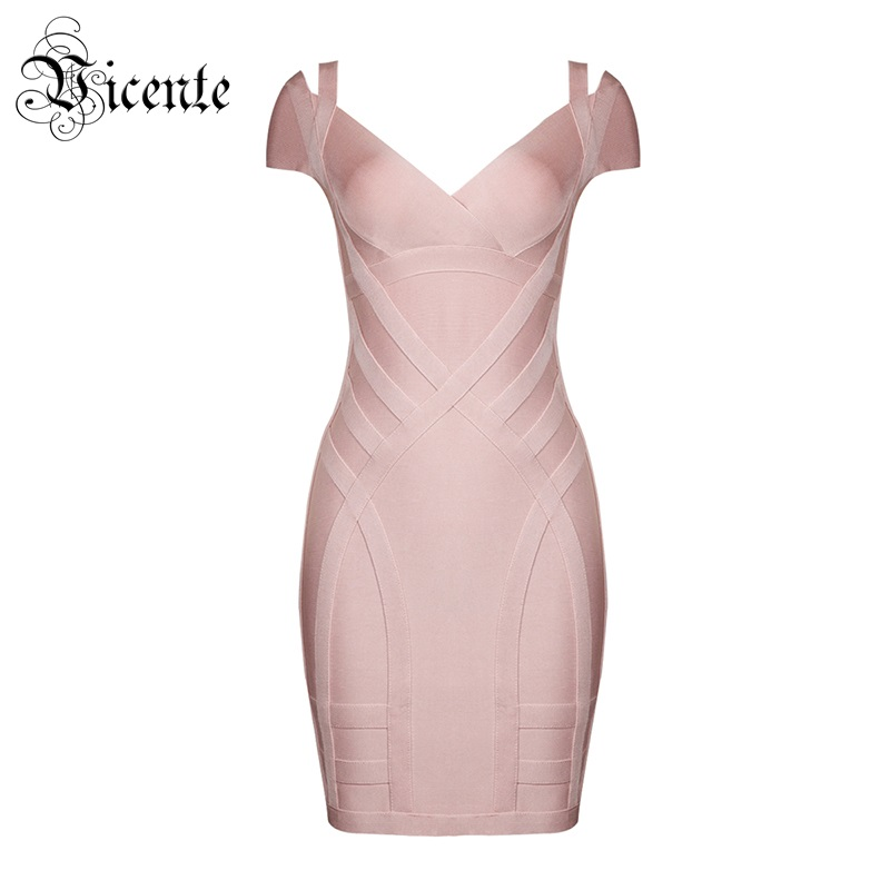 Vicente 2019 New HOTTrendy Sexy Dropped Shoulder Details V Neck Short Sleeves Wholesale Women Bodycon Evening