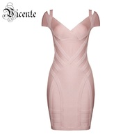2017 New Free Shipping Trendy Sexy Dropped Shoulder Details V Neck Short Sleeves Wholesale Women Bodycon