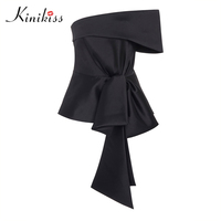 Kinikiss female blouse lace up black off shoulder slash neck casual blouse   shirt   summer 2018 women tops fashion new sexy blouse