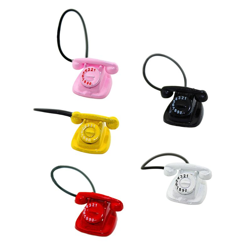 Mini Retro Desk Phone Model Telephone With Rotary Dial 1:6 1:12 Miniature Doll House Accessories Decor DIY