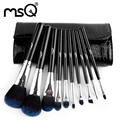 MSQ Professional 10pcs Cosmetics Makeup Brush Set Soft Synthetic Hair Natural Wood Handle With PU Leather Case