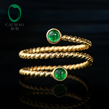 цены CaiMao Smalle Bezel 0.24ct Natural Cabochon Emerald Exquisite Ring 14K Yellow Gold Wedding Band Resizable