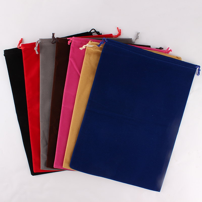 5pcs/lot 25*35cm Customized Logo Printed Christmas Velvet Drawstring Pouch Large Packing Bags Christmas Gift