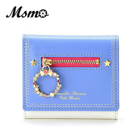 2017 Candy 3 Color Sailor Moon Wallet Women Lady Short Wallets Female PU Leather For Card