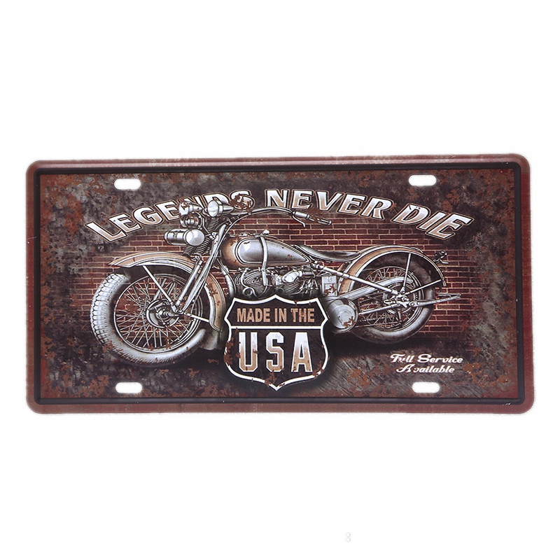 30x15 CM USA Motos Shabby Chic Plaque D'immatriculation Décorative Vintage Signes En Métal Garage Mur Art Peinture Home Bar Décoration