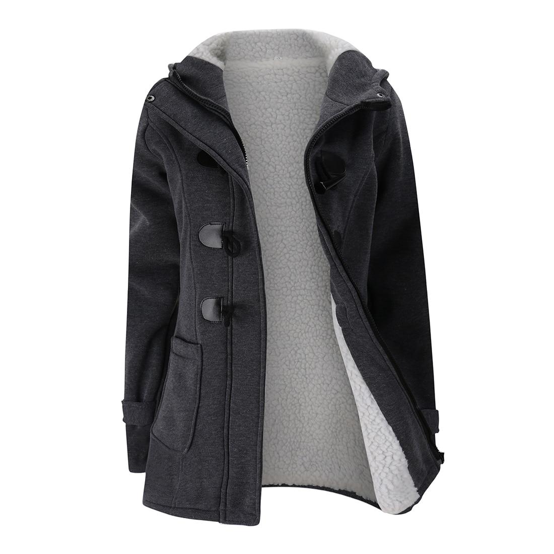 2018 Women Trench Coat Autumn Warm Lining Winter Jacket Overcoat Female Casual Long Hooded Coat Zipper Horn Button Outwear 50