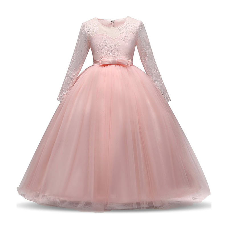 VOGUEON Teenager Girls Lace Ball Gown Kids Long Sleeve Floor Length Bridesmaid Wedding Dress Girl Tulle Princess Party Clothes