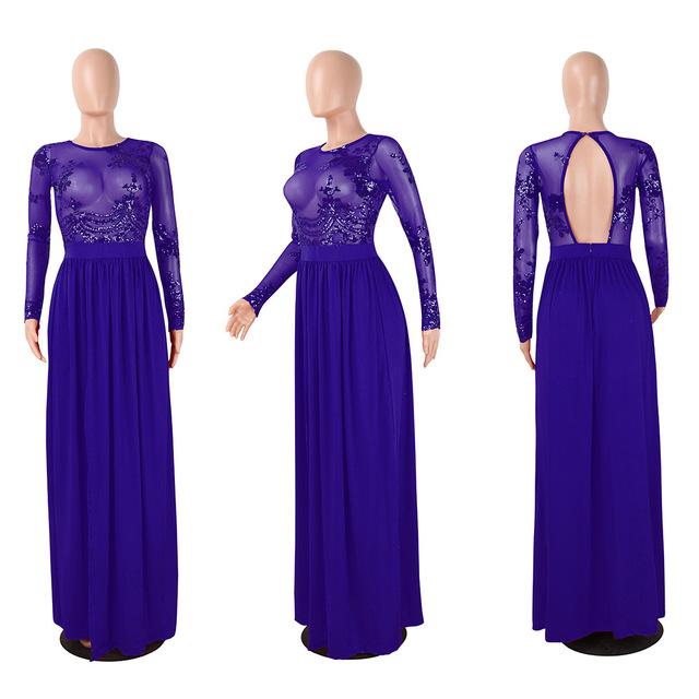 See through mesh blue high slit maxi dress
