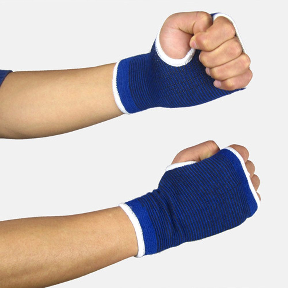 Pair Wrist Gloves Hand Palm Gear Protector Elastic Brace Gym Sports Support