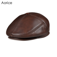 Aorice Genuine Leather Men Berets Cap Hat CBD High Quality Fashion Men's Real Leather Adult Striped Adjustable Hats Caps HL093 2