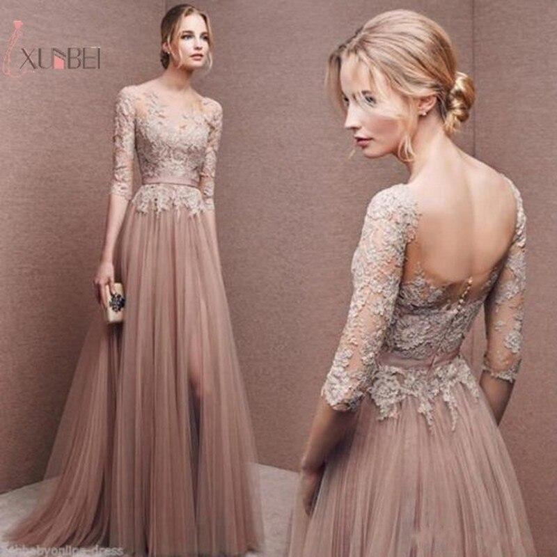 Pink Tulle Elegant 2019 Long Prom Dress High Split Half Sleeve Prom Gown Vestidos De Festa Longo New