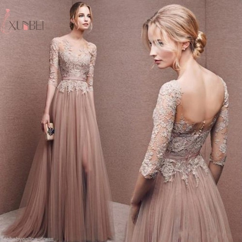Pink Tulle Elegant 2019 Long   Prom     Dress   High Split Half Sleeve   Prom   Gown vestidos de festa Longo New