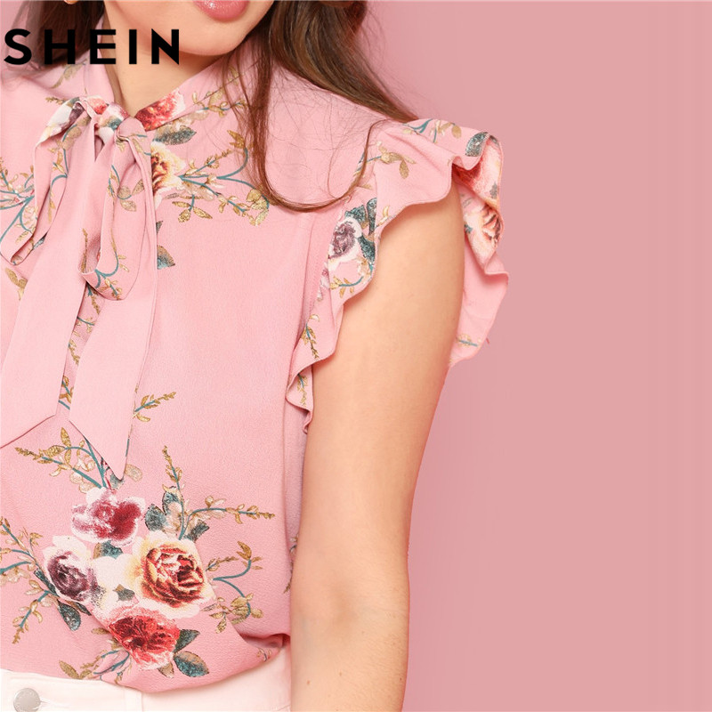 SHEIN Floral Print Pink Ruffle Sleeve Tie Neck Plus Size Elegant Women Blouses Summer Fashion Office Lady Sleeveless Top Blouse  3