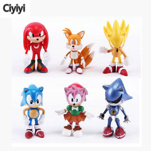 6pcs/lot Sonic Pvc Display Anime Figure Toy Cartoon Sonic Hedgehog Display Model Brinquedos Collection Toys Children Gift Jouet