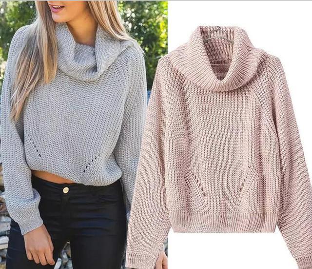 Otoño invierno de cuello alto corto Pullover Sweaters mujeres Tricot tejido  de lana blanca Jumpers Pull b402889d804d