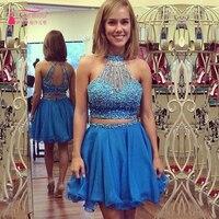 Vestidos de festa curto e elegante Cocktail Dress 2016 Blue Beading Short Homecoming Dresses Two PieceGorgeous Prom Dress  Z323