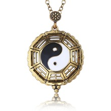 (Can Openable) Antique Gold Chain Magnifying glass pendant necklace yinyang Hollow pendant necklace women unique accessories