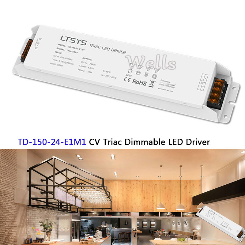 TD-150-24-E1M1;New LTECH intelligent led Driver;24VDC 6.25A 150W constant voltage Triac Dimmable LED Driver kvp 24200 td 24v 200w triac dimmable constant voltage led driver ac90 130v ac170 265v input