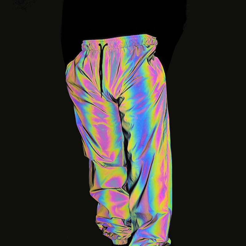 Dropshipping New joggers men colorful reflective pants hip hop mens pants streetwear rainbow colored jogger men women sweatpants(China)