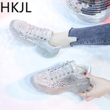 HKJL Fashion trend 2019 water drill new jelly bottom thick sponge cake wedges with lace-up daddy shoes sneakers A208