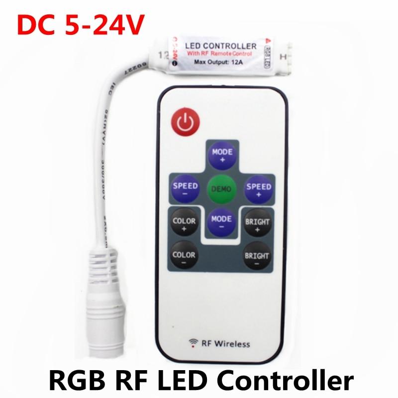 DC 5 V-12 V-24 V RGB RF Nirkabel Mini LED Controller Remote Driver Dimmer untuk LED Strip Cahaya SMD 5050 2835 3528 2835 3014 5630