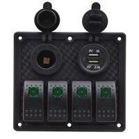 4 Gang Boat Rocker Switch Panel Dual USB Toggle Cigarette Lighter Socket Car Switch Panel LED Switch USB Marine Switch Panel
