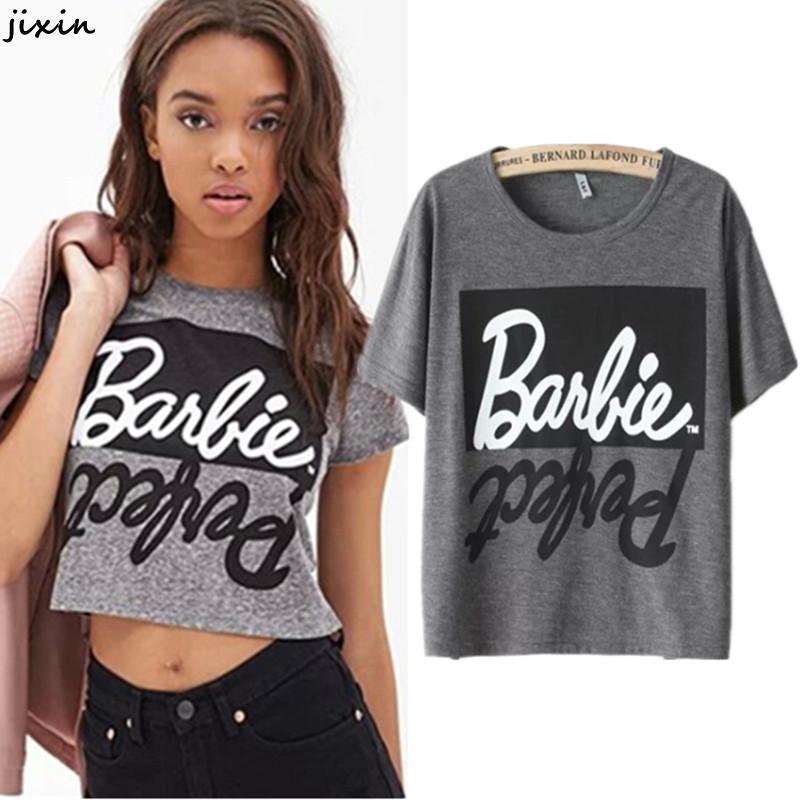 ab7c8b7fa6 Patrón cartas De algodón gris Tee verano Camisetas para mujeres cultivo De  manga corta para superior Ropa De Mujer Camisetas Mujer Poleras De Mujer en  ...