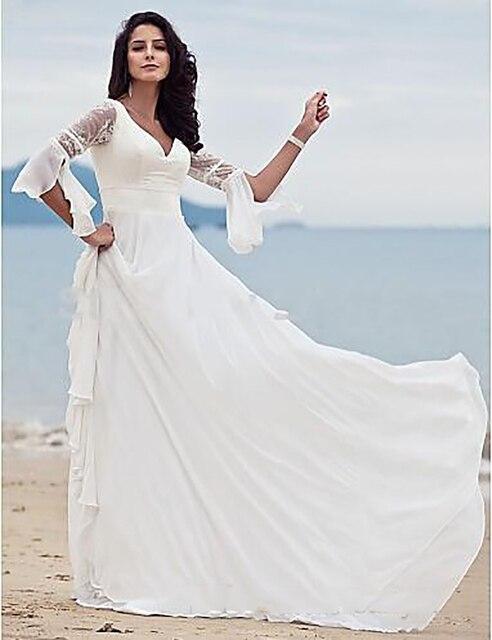 vintage cuello en v vestidos de novia de gasa estilo boho hippie