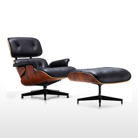 Real Leather Mid Century Modern Classic Rosewood Plywood Lounge Chair&Ottoman Premium High Grade Chaise Lounge Swivel Chair