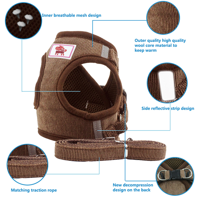 Pet Dog Cat Harness with Leash Adjustable Vest Walking Supplies Soft Breathable Collar Puppy for Small Medidum Large Dogs 1