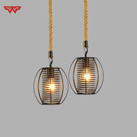 Nordic Style Restaurant Simple Personality Creative Living Room Lights American Bar Iron Rope Lamps