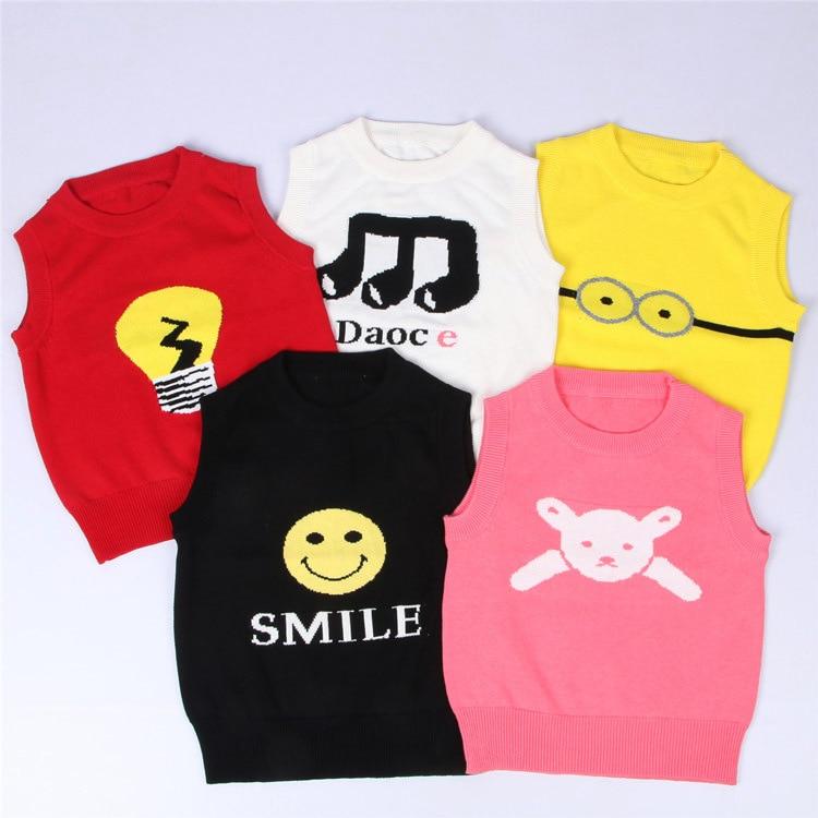 Emoji 2017 Autumn Winter Toddler Children Sweaters Kids Knitwear Waistcoat Vest Clothes Baby Girls Boys Knitted Sweater Vest