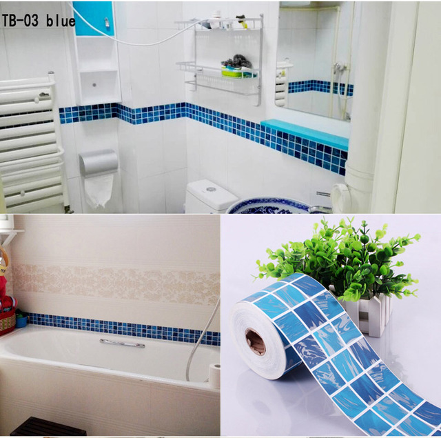 3D Mosaic Tile Stickers DIY Kitchen Bathroom Vinyl Waistline Wallpaper Wall  Paper Self Adhesive Waterproof Part 62