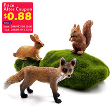 Simulation small Fox hare Rabbit Squirrel forest animal model figure plastic Decoration educational toy figurine Gift For Kids(China)