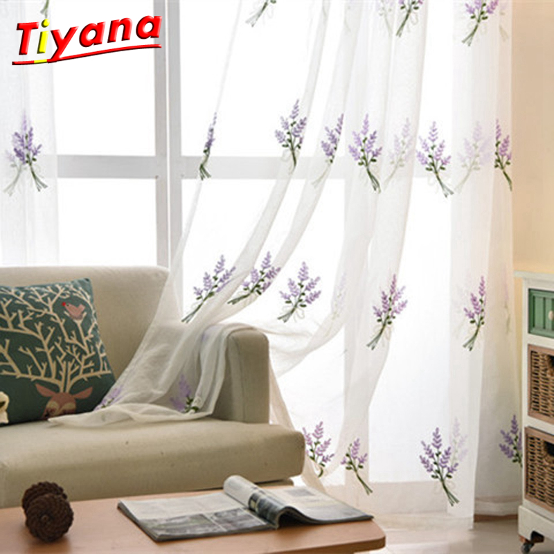 Embroidery Lavend Tulle Curtains For Living Room Red/Purple Embroidery Yarn Curtains Pastoral Window Tulle Treatment WP258 *40