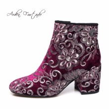 Arden Furtado 2017 winter woman fashion embroidery velvet flowers ankle boots square high heels 8cm handmade shoes